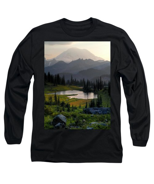 Misty Rainier At Sunset Long Sleeve T-Shirt by Peter Mooyman