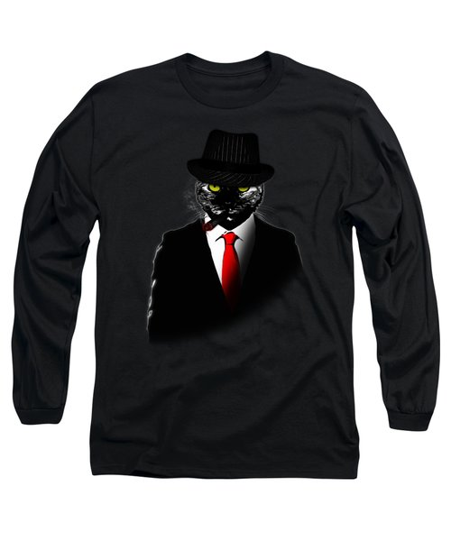 Mobster Cat Long Sleeve T-Shirt by Nicklas Gustafsson
