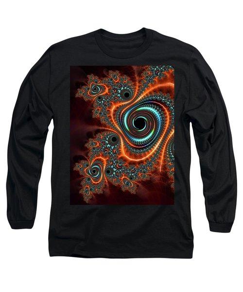 Long Sleeve T-Shirt featuring the digital art Modern Abstract Fractal Art Orange Cyan by Matthias Hauser