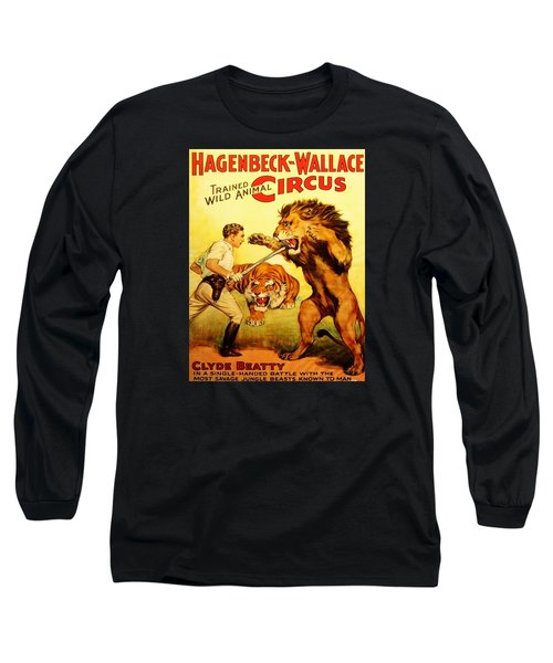 Long Sleeve T-Shirt featuring the digital art Modern Vintage Circus Poster by ReInVintaged