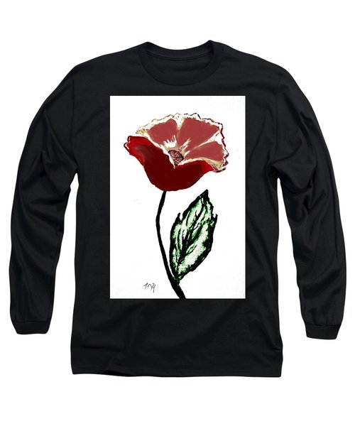 Long Sleeve T-Shirt featuring the drawing Modernized Flower by Marsha Heiken