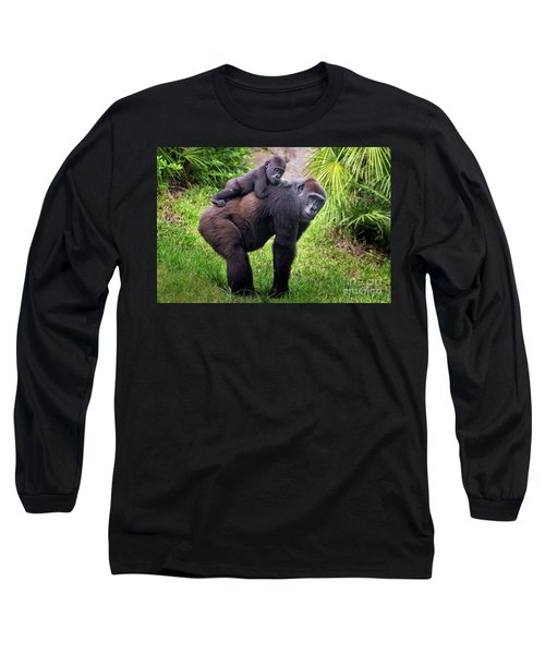 Mom And Baby Gorilla Long Sleeve T-Shirt by Stephanie Hayes