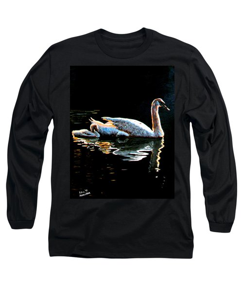 Mom And Baby Swan Long Sleeve T-Shirt by Stan Hamilton