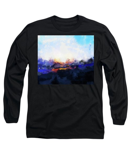 Moment In Blue Spaces Long Sleeve T-Shirt by Cedric Hampton
