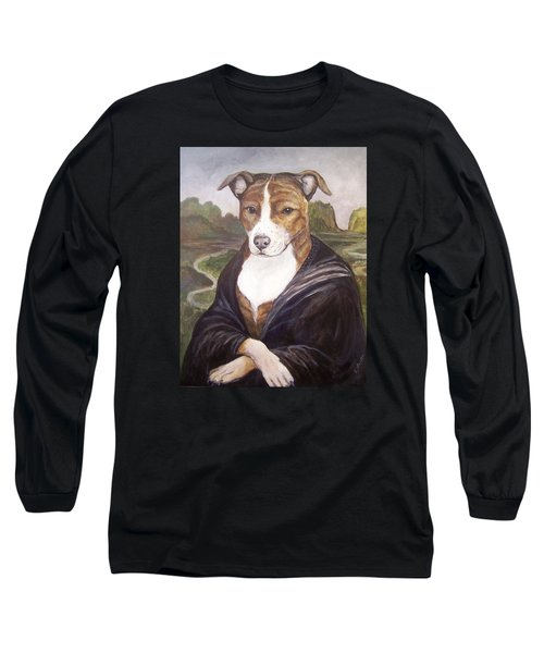 Long Sleeve T-Shirt featuring the painting Mona Pitta by Laura Aceto