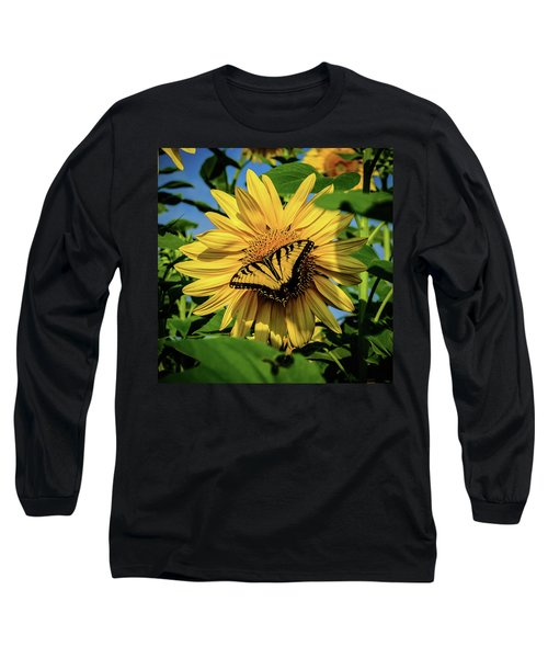 Male Eastern Tiger Swallowtail - Papilio Glaucus And Sunflower Long Sleeve T-Shirt