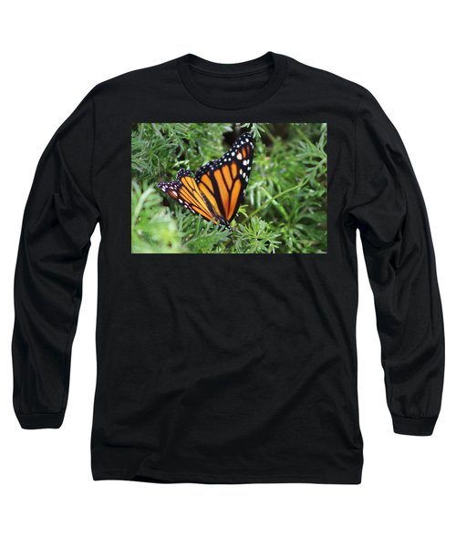 Monarch Butterfly In Lush Leaves Long Sleeve T-Shirt