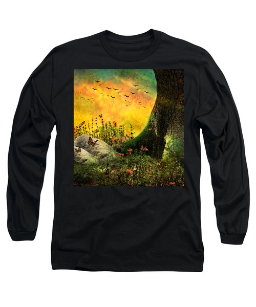 Monarch Meadow Long Sleeve T-Shirt by Ally  White