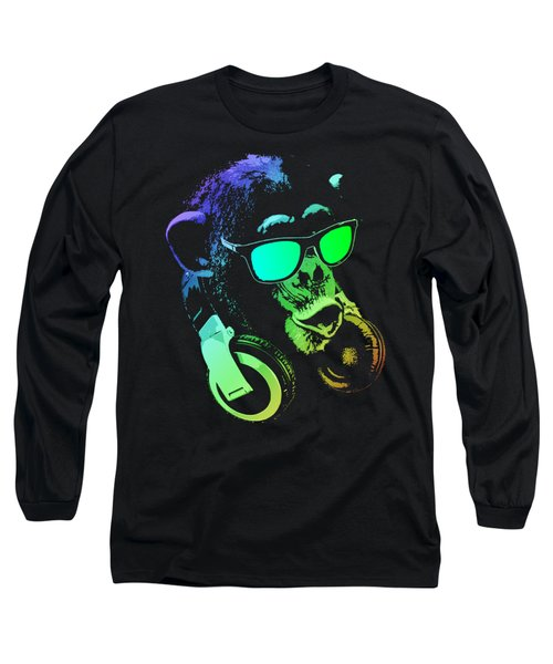 Monkey Dj Neon Light Long Sleeve T-Shirt