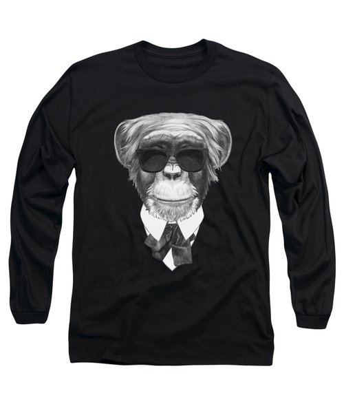Monkey In Black Long Sleeve T-Shirt by Marco Sousa