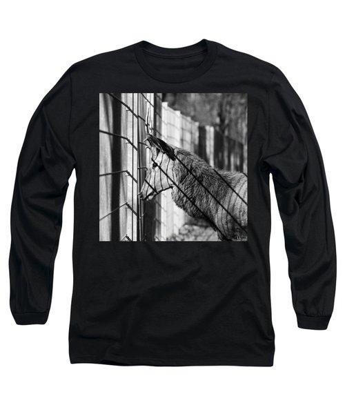 #monochrome #canon #cage #blackandwhite Long Sleeve T-Shirt by Mandy Tabatt