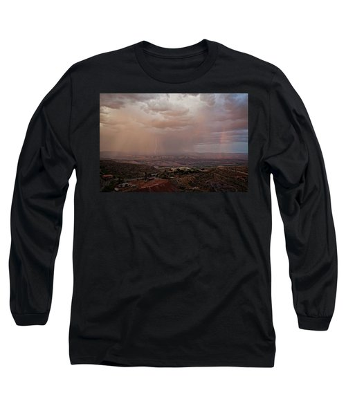 Long Sleeve T-Shirt featuring the photograph Monsoon Lightning And Rainbow by Ron Chilston