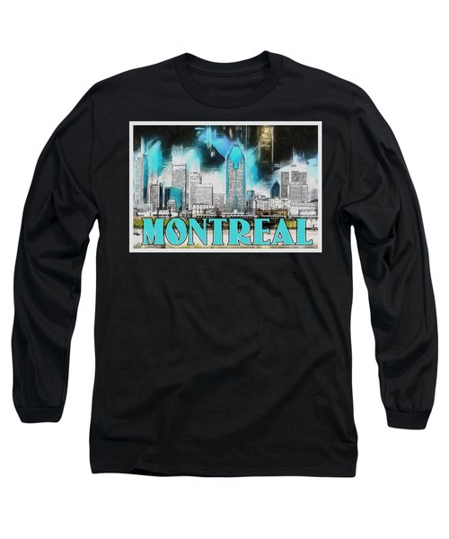 Long Sleeve T-Shirt featuring the painting Montreal Lights by Kai Saarto