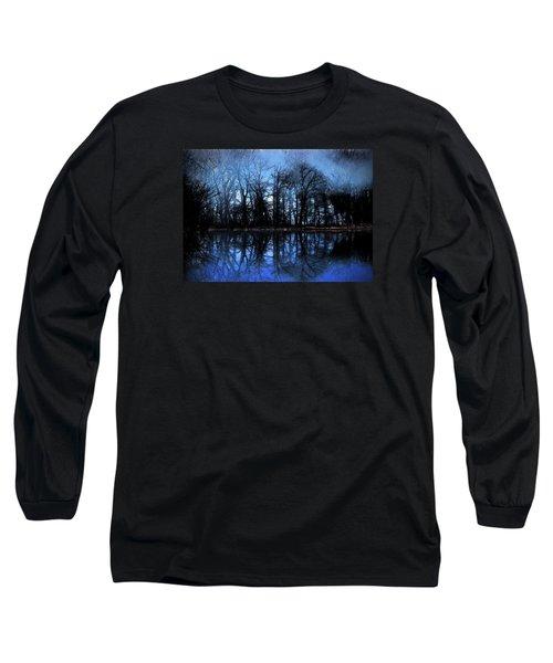 Moody Blue Daybreak Long Sleeve T-Shirt by Cedric Hampton