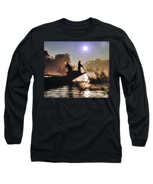 Moody River Silhouettes At Sunset Long Sleeve T-Shirt
