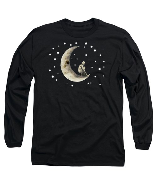 Moon And Stars T Shirt Design Long Sleeve T-Shirt by Bellesouth Studio