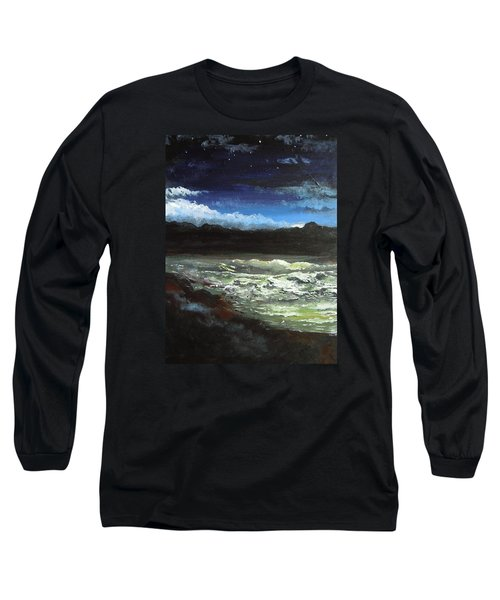 Long Sleeve T-Shirt featuring the painting Moon Lit Sea by Dan Whittemore