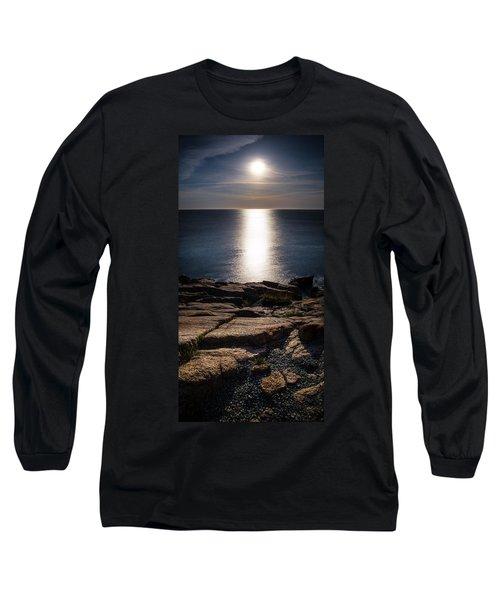 Moon Over Acadia Shores Long Sleeve T-Shirt