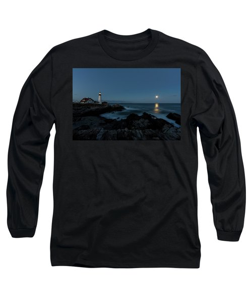 Moon Rise At Portland Headlight Long Sleeve T-Shirt