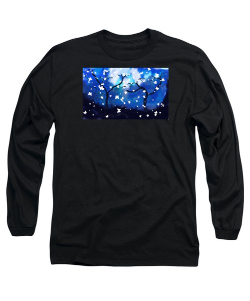 Long Sleeve T-Shirt featuring the painting Moonlight Butterflies by Patricia Arroyo