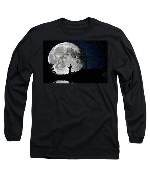 Moonlight Fishing Under The Supermoon At Night Long Sleeve T-Shirt