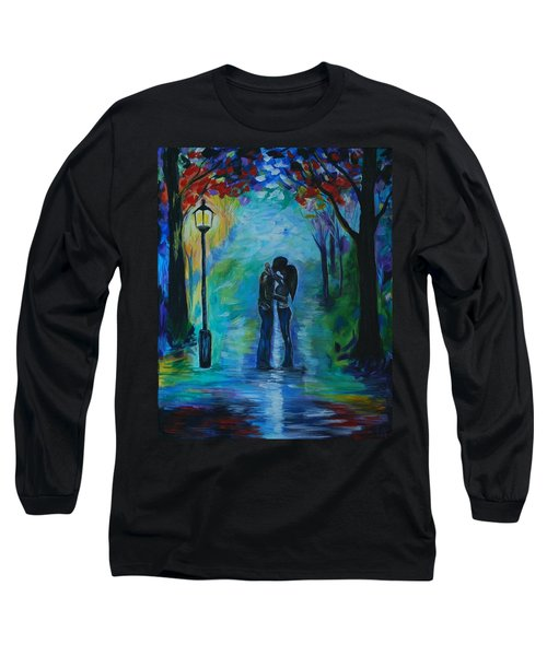 Long Sleeve T-Shirt featuring the painting Moonlight Kiss by Leslie Allen