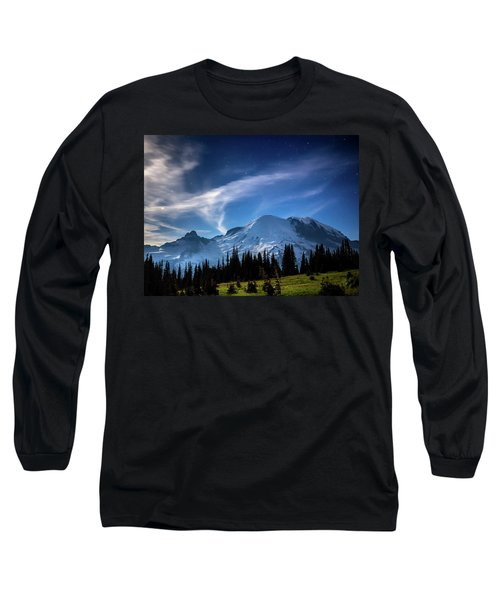 Moonlight On Mt Rainier Long Sleeve T-Shirt
