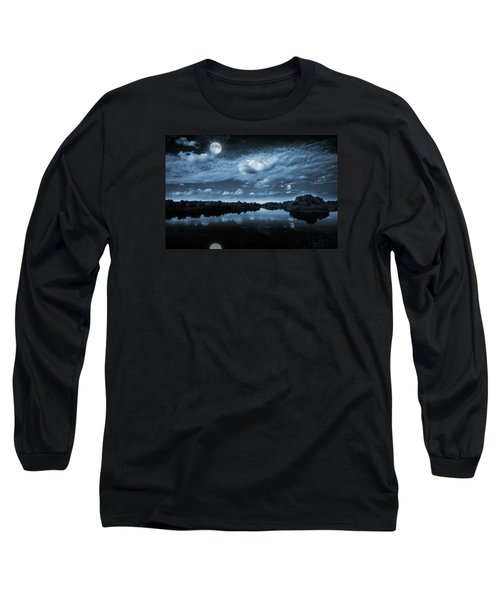 Long Sleeve T-Shirt featuring the photograph Moonlight Over A Lake by Jaroslaw Grudzinski