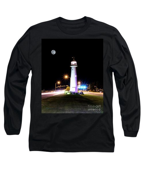 Moonlit Gulf Coast Lighthouse Seascape Biloxi Ms 4256b Long Sleeve T-Shirt