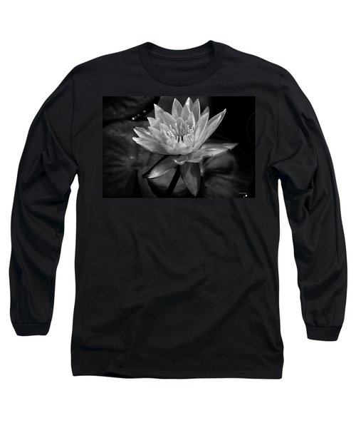 Moonlit Water Lily Bw Long Sleeve T-Shirt