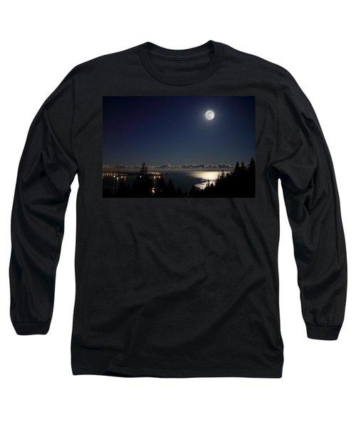 Moonshine Over English Bay Long Sleeve T-Shirt