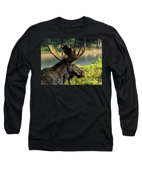 Moose Adventure Long Sleeve T-Shirt by Steven Parker