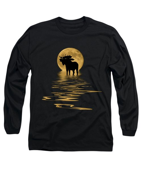 Moose In The Moonlight Long Sleeve T-Shirt by Shane Bechler