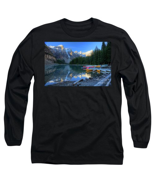 Moraine Lake Sunrise Blue Skies Canoes Long Sleeve T-Shirt