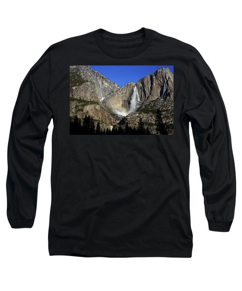 Long Sleeve T-Shirt featuring the photograph Morning Light On Upper Yosemite Falls In Winter by Jetson Nguyen