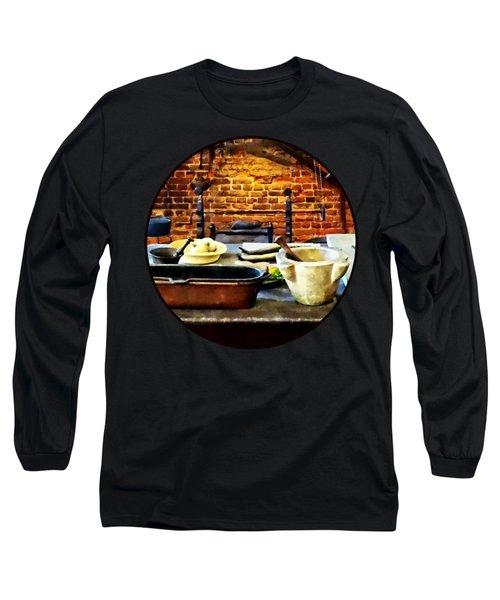 Mortar And Pestles In Colonial Kitchen Long Sleeve T-Shirt by Susan Savad