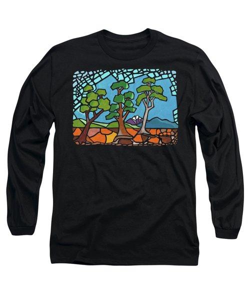 Mosaic Trees Long Sleeve T-Shirt by Anthony Mwangi