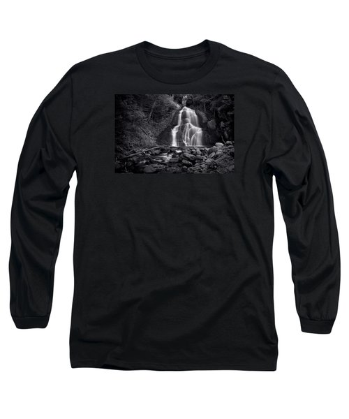 Long Sleeve T-Shirt featuring the photograph Moss Glen Falls - Monochrome by Stephen Stookey