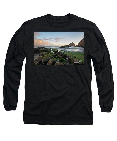 Mossy Rocks At The Beach Long Sleeve T-Shirt