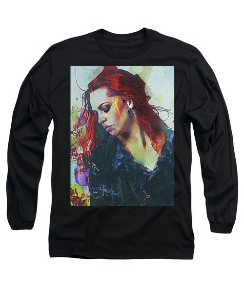 Long Sleeve T-Shirt featuring the digital art Mostly- Abstract Portrait by Galen Valle