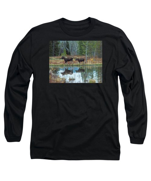 Mother And Baby Moose Reflection Long Sleeve T-Shirt by Rebecca Margraf