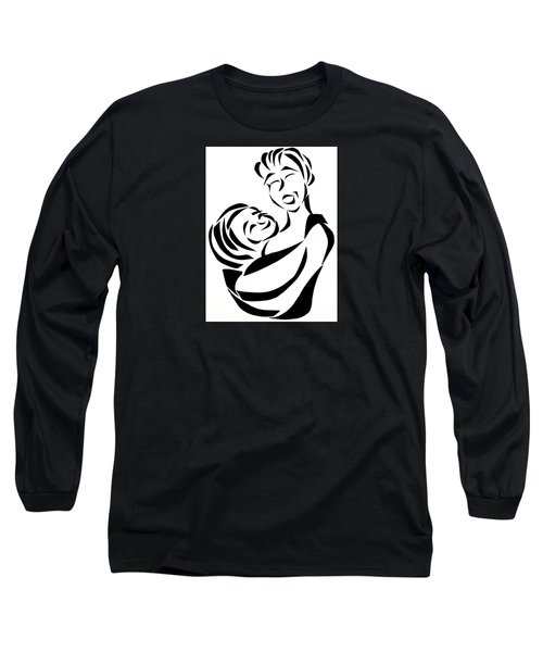 Long Sleeve T-Shirt featuring the mixed media Mother And Child by Delin Colon