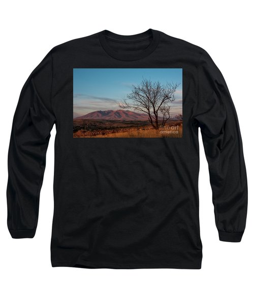 Mount Ara At Sunset With Dead Tree In Front, Armenia Long Sleeve T-Shirt by Gurgen Bakhshetsyan