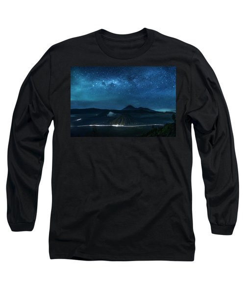 Mount Bromo Resting Under Million Stars Long Sleeve T-Shirt