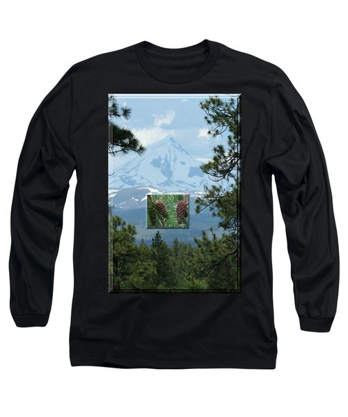 Mount Jefferson With Pines Long Sleeve T-Shirt