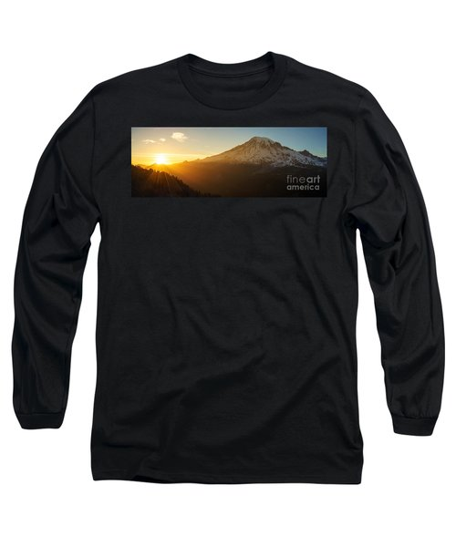 Mount Rainier Evening Light Rays Long Sleeve T-Shirt