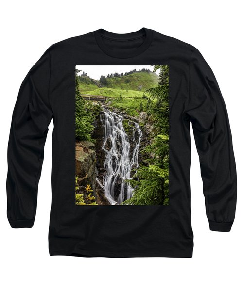 Long Sleeve T-Shirt featuring the photograph Mount Rainier's Myrtle Falls by Pierre Leclerc Photography