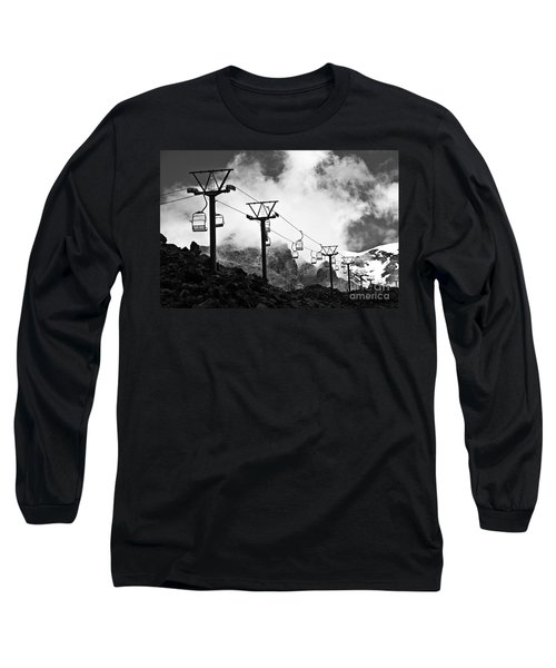 Mountain Cable Road Waiting For Snow Long Sleeve T-Shirt by Yurix Sardinelly