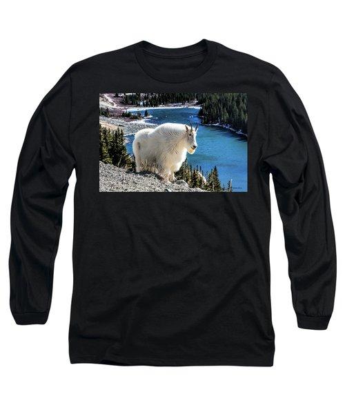 Mountain Goat At Lower Blue Lake Long Sleeve T-Shirt