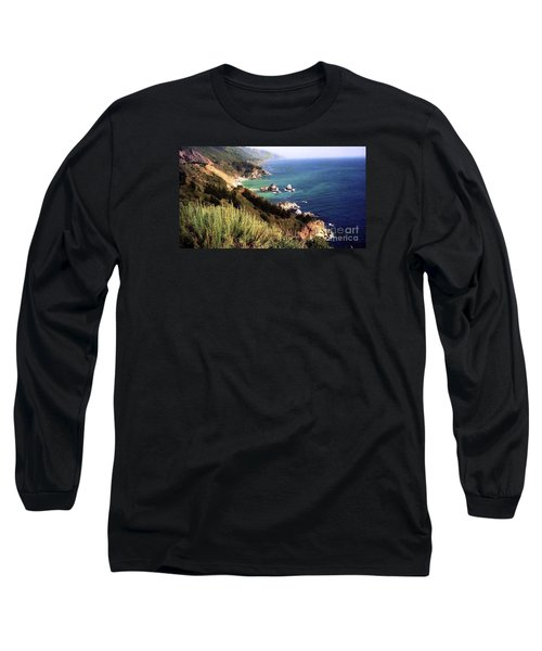 Mountain On Calif Pacific Ocean Long Sleeve T-Shirt by Ted Pollard